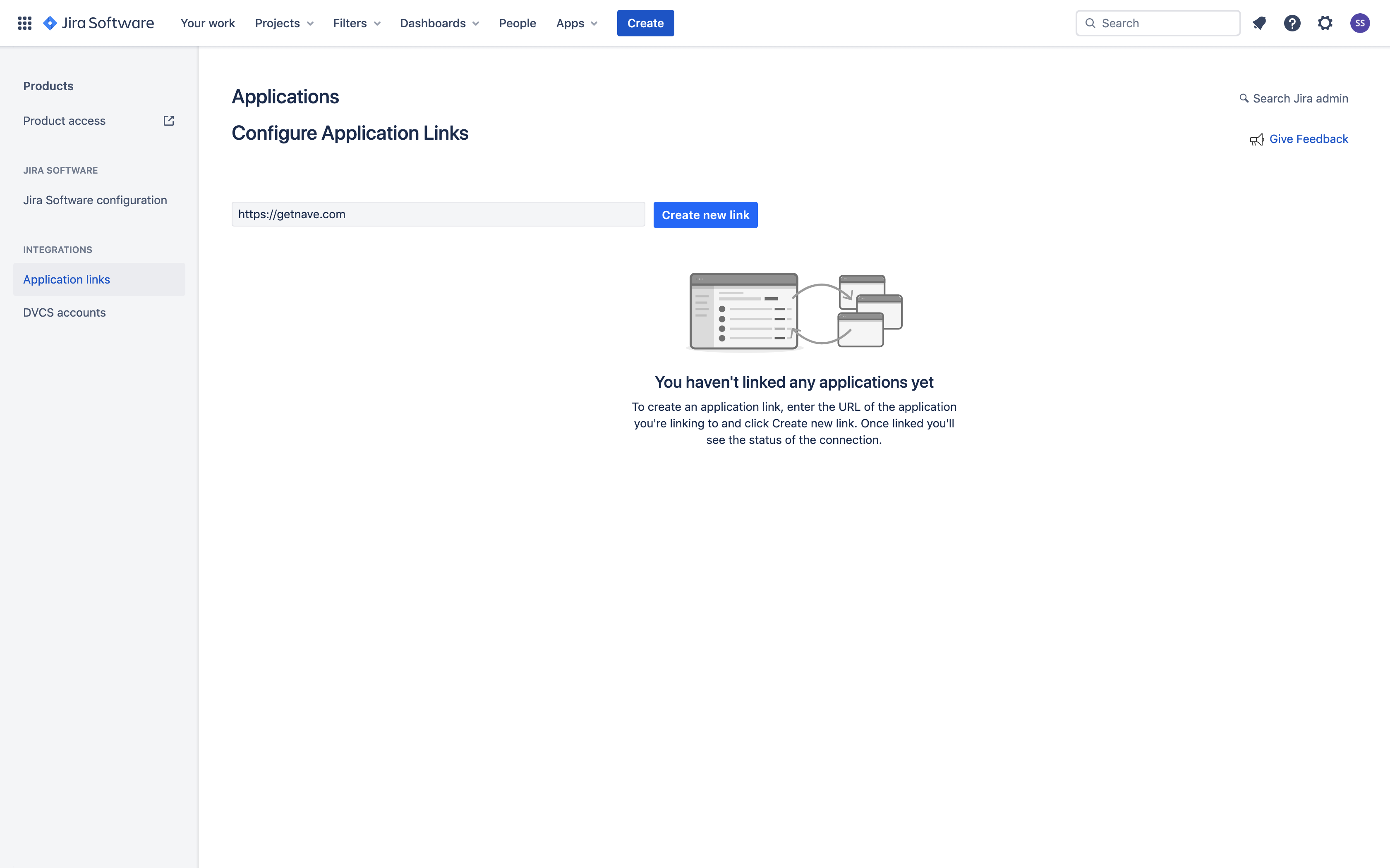 Linking Nave with Jira - Application Link Created
