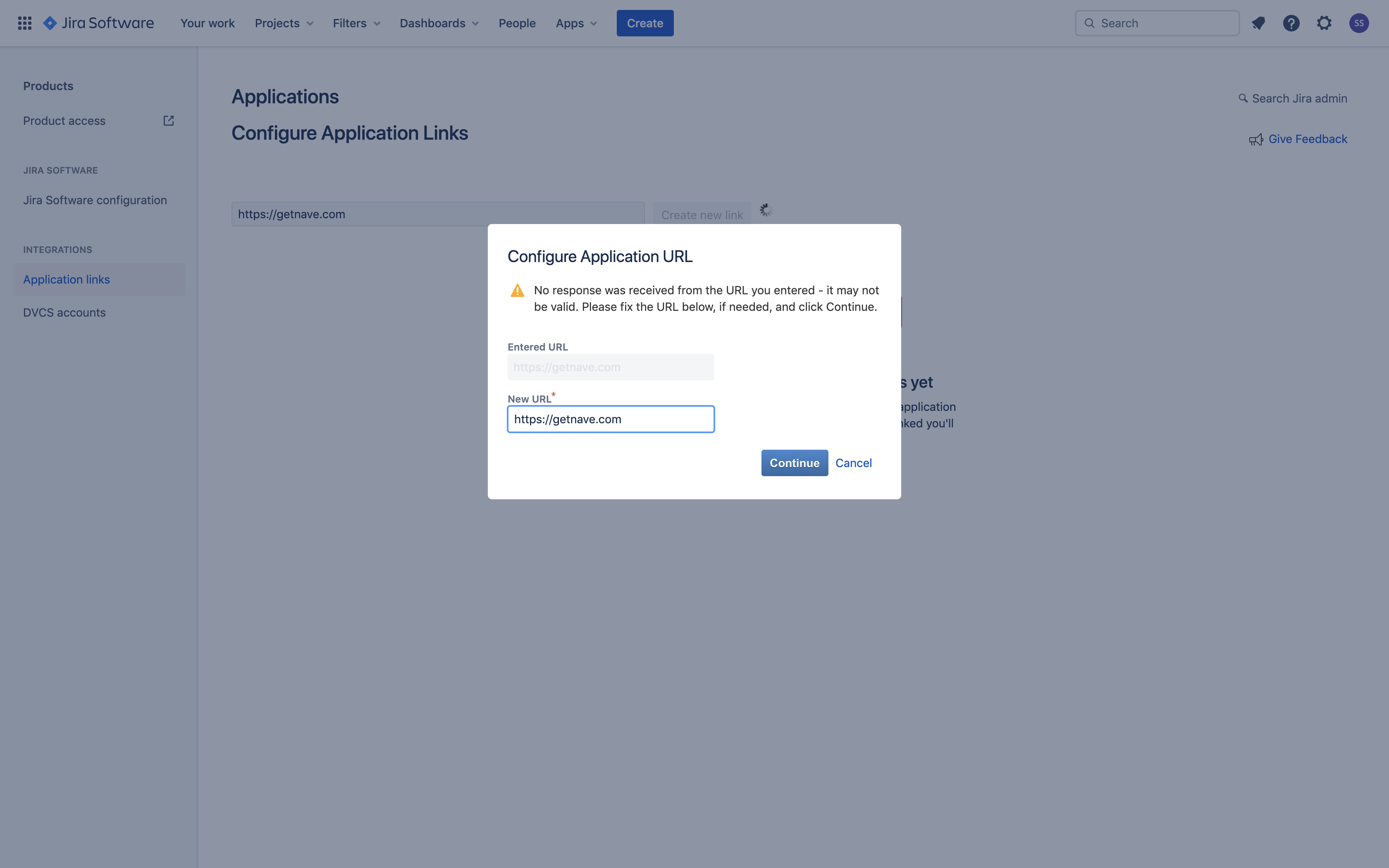 Linking Nave with Jira - Configure Application URL