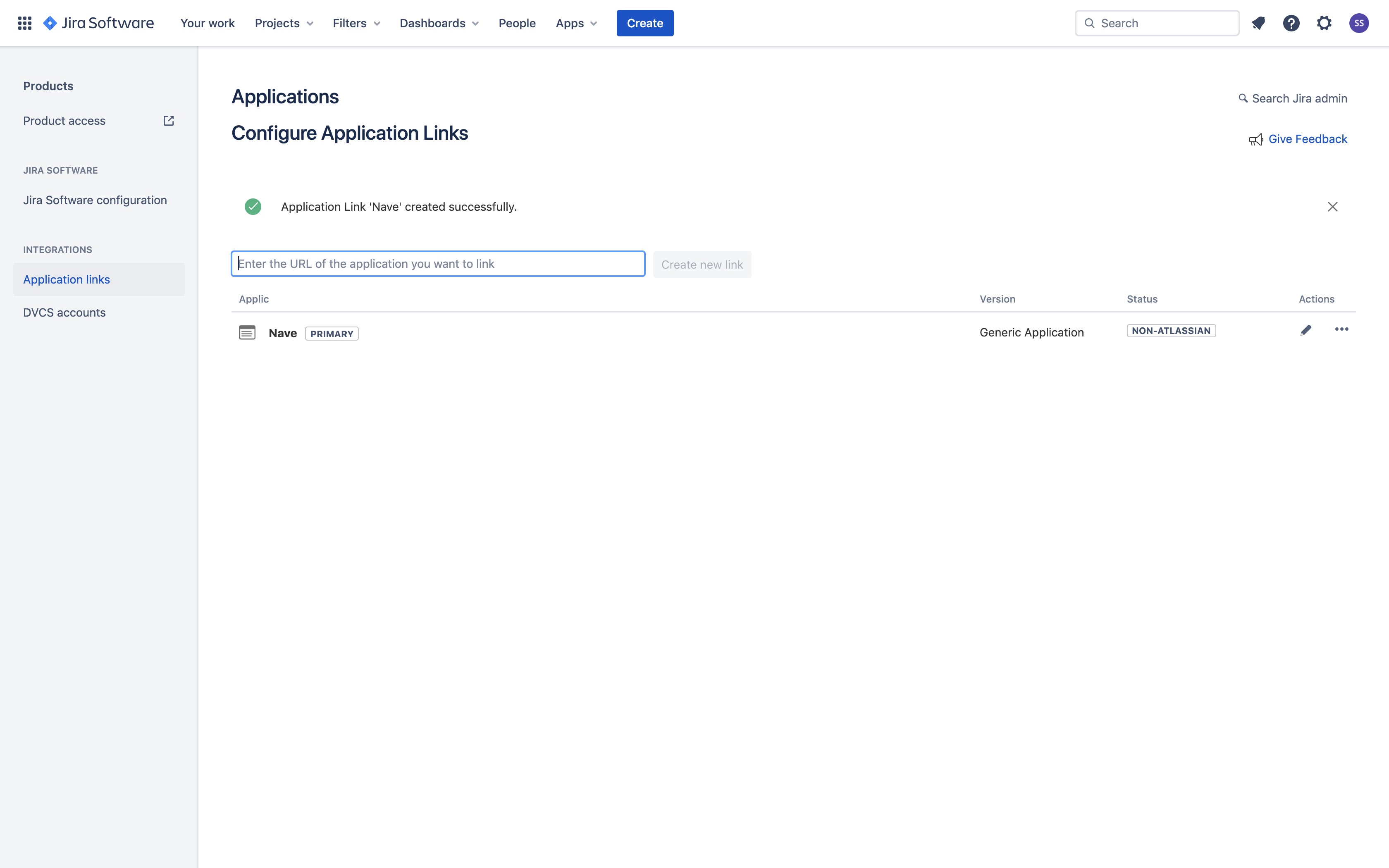 Linking Nave with Jira - Successful Application Link