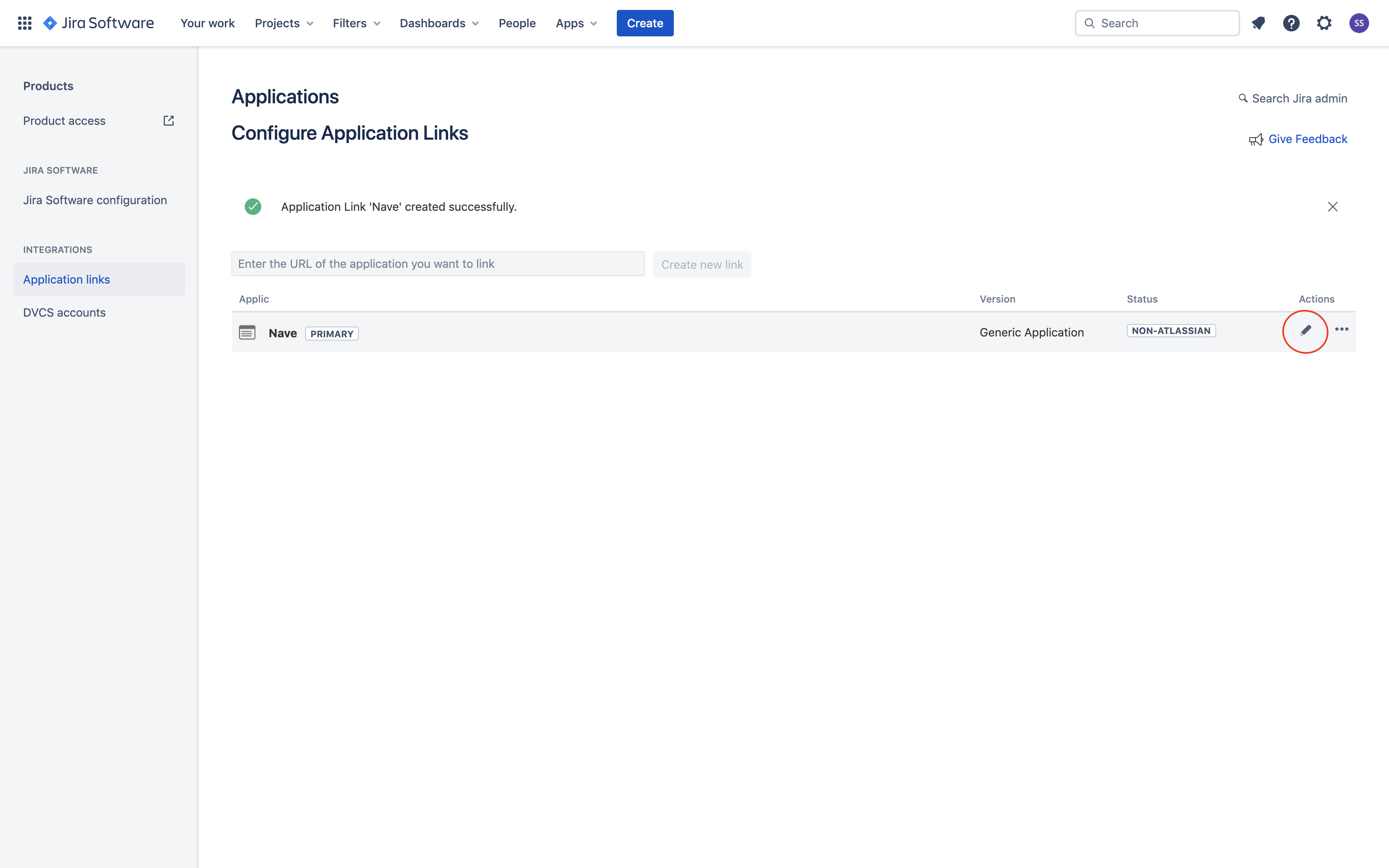 Linking Nave with Jira - Edit Application Link