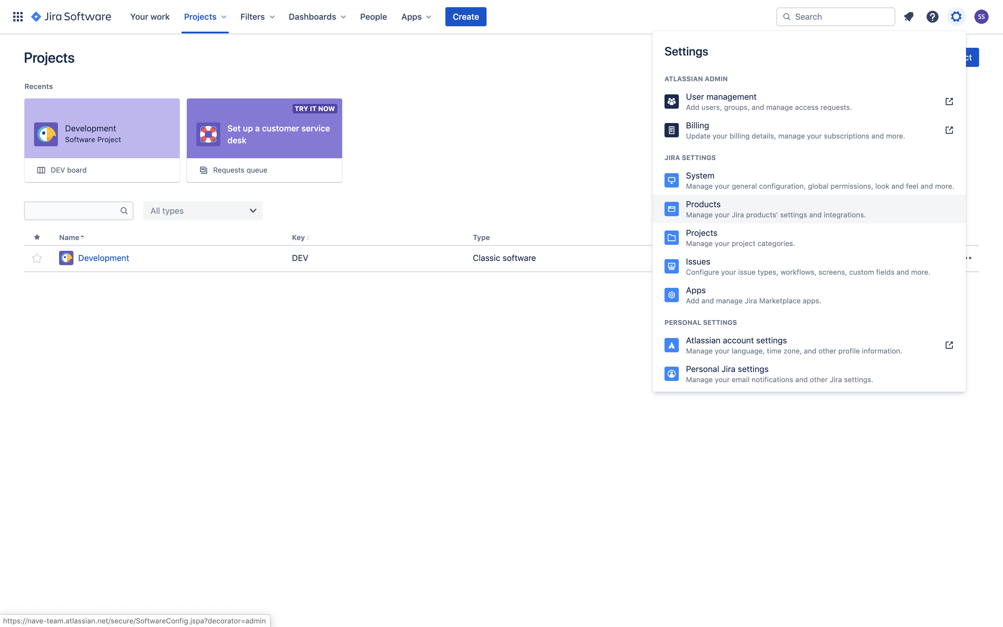 Linking Nave with Jira - Products