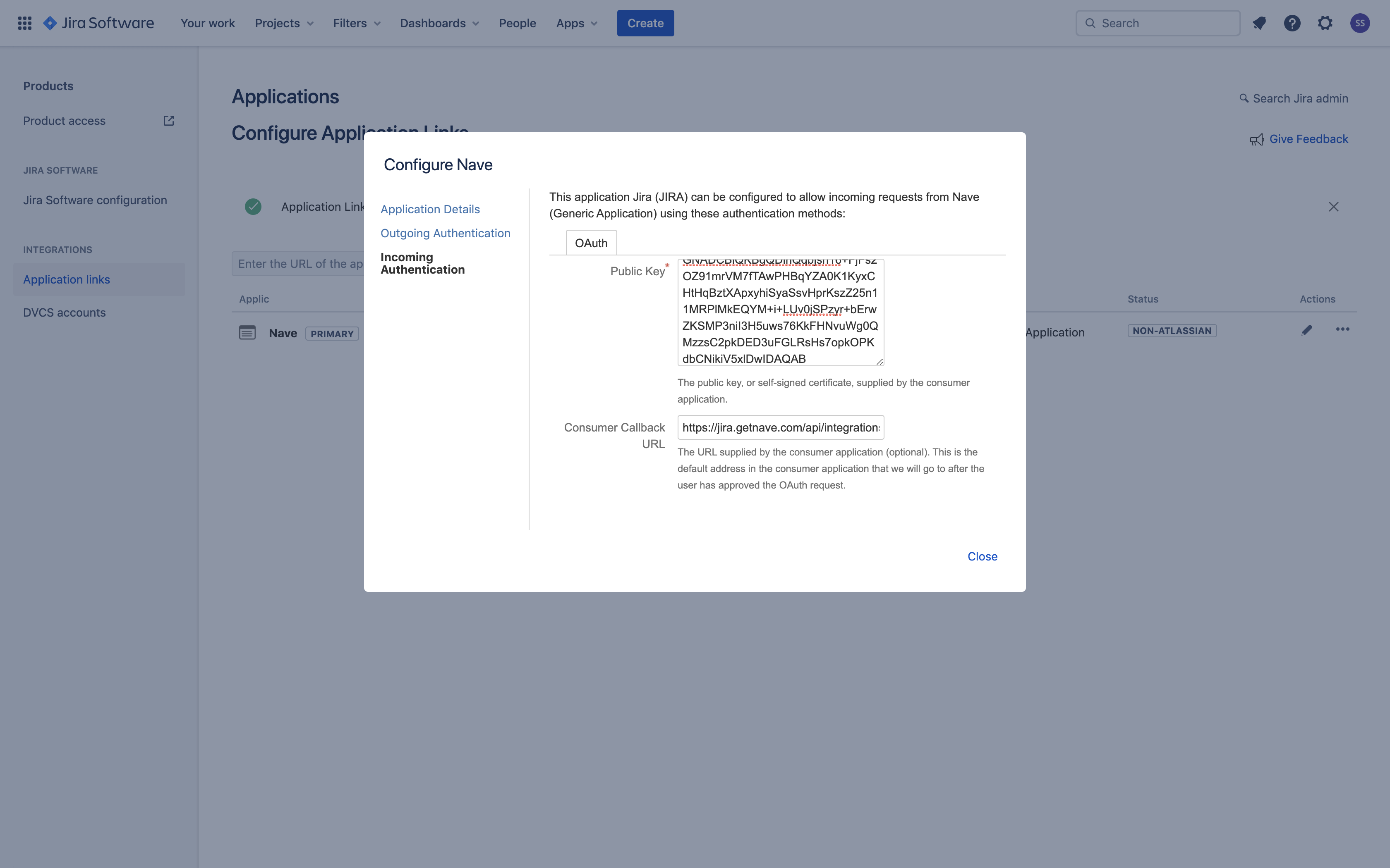 Linking Nave with Jira - Public Key