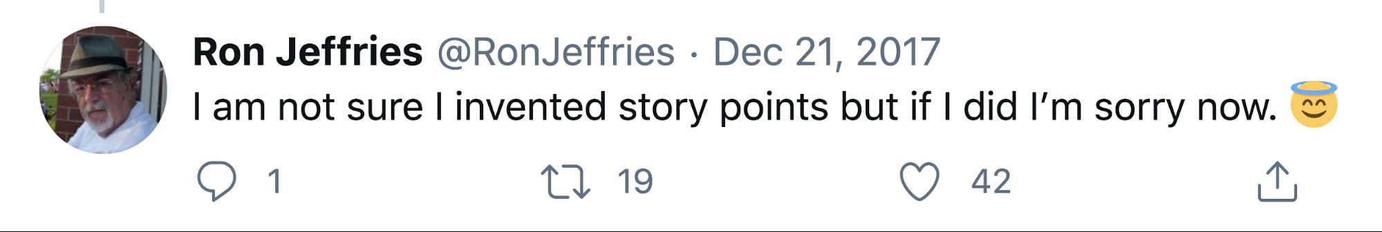 Ron Jeffries - Story points tweet